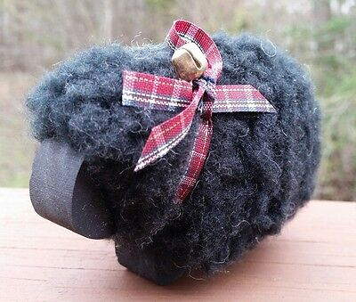 Decorative black sheep wood and wool