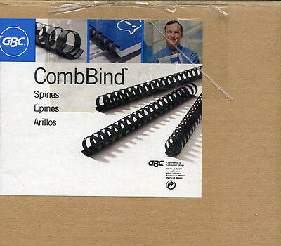 "BOX LOT OF 112 GBC COMB BINDER SPINES OFFICE REPORTS PROPOSALS 1"" 25mm BLACK"