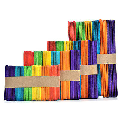 50x Colorful DIY HandiCraft Wooden Popsicle Stick Ice Cream 4 Size Timber Sticks