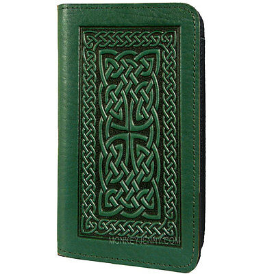 CELTIC BRAID Oberon Design Leather Checkbook Holder/Cover Green knot CKC16