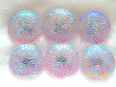 "CZECH GLASS BUTTONS (6 pcs)   7/8"" - 22mm LILAC  /AB    OLD STOCK 026"