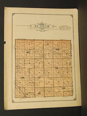 Minnesota Faribault County Map DunbarTownship 1913    W3#97