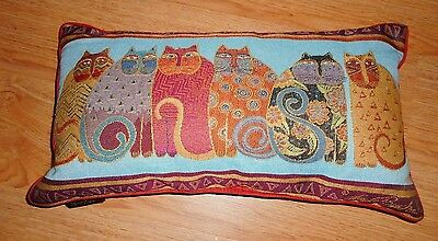 LAUREL BURCH Feline Cat Throw Pillow Tapestry Oblong Turquoise Rust