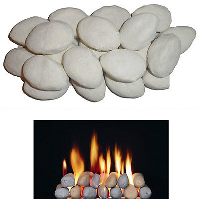 30 Replacement White Standard Pebble cast coals for gas fires 60mm