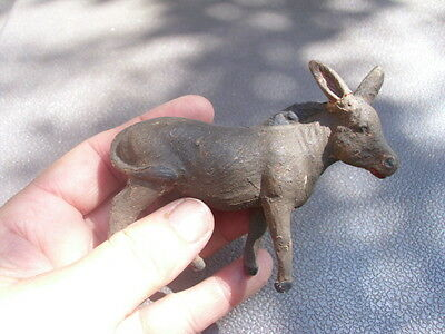 "Vintage Composition Donkey Mule Toy Figurine Standing Gray 3 1/2"" Long Ear Crack"