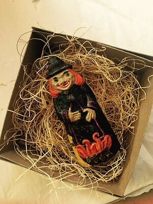 New 3D Dresden Paper Halloween Witch Ornament w Broom Fire Logs Glass Eyes Boo!