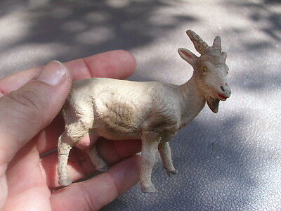 """Vintage Composition Standing Female Goat Toy Figurine 3"""" Long 2 Legs Cracked"""