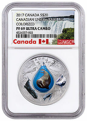 2017 Canada Underwater Life W/3D Water Droplet 1 oz. Silver NGC PF69 UC SKU45958