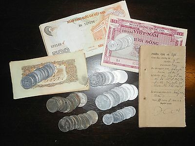 LOT of 11 - VERY RARE COINS & NOTES - French Indochina, Vietnam War, NVN - 6101