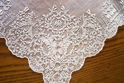 Vintage Embroidered Bridal Linen Hankie Gray Undertones Tiny Appenzell Stitches