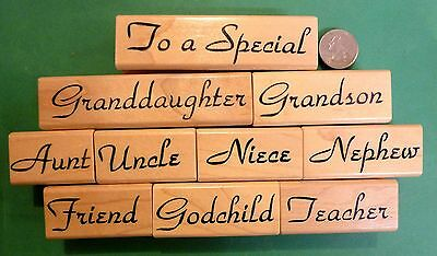 Universal All-Occasion Greeting Card Rubber Stamp Set, 10 pcs., wood mounted