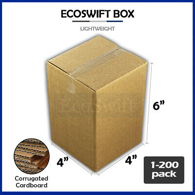 "1-200 4x4x6 ""EcoSwift"" Cardboard Packing Mailing Shipping Corrugated Box Cartons"