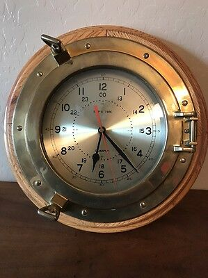 "Nautical Ships time Brass Oak Wood Wall Clock port Hole Quartz 13"" Diameter"