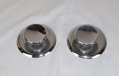 "Pr Vtg Mid Century Chrome  2"" Concave Drawer Pull Cabinet Hardware & Backplate"