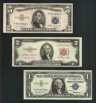 OLD MONEY $1+ $5 Blue Seal SILVER Certificates + $2 Dollar Bill US RED Seal Note