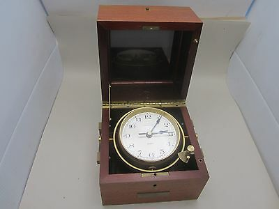 Vintage 1970's Hamilton Quartz Maritime Gimbled Clock Chronometer W/ Wood Box