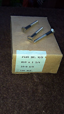 "Stainless Steel Wood Screws 1""3/4 Flat Head Slot Drive SS #10 Lot 100 pcs NOS US"