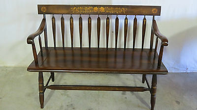 Hitchcock Farmhouse Bench Signed Stenciled
