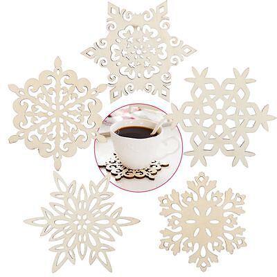 Hot Sale Wooden Snowflake Coasters Holder Coffee Tea Drinks Cup Mat XMAS Carved