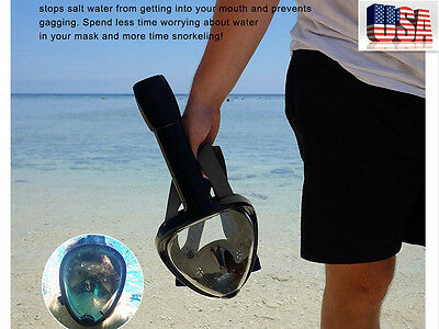 US Snorkel Mask Surface Swimming 180° Full Face Diving Snorkel Scuba for GoPro