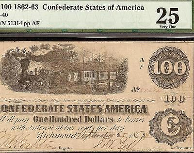 1862-63 $100 Dollar Bill Confederate States Currency Civil War Note T-40 Pmg 25