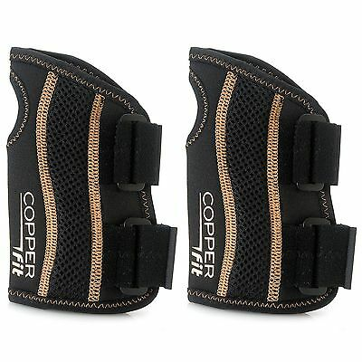 Copper Fit Size L/XL Set of 2 Copper Infused Compression Wrist Sleeves Black New
