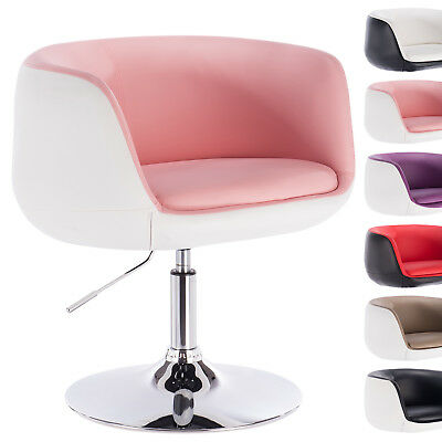 1 x Barsessel Clubsessel Lounge Sessel mit Armlehne Chrom Rosa+Weiss BH42rsw-1