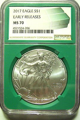 2017 American Silver Eagle $1  NGC MS70 ER  - GREEN SLAB w/ MONSTER BOX LABEL
