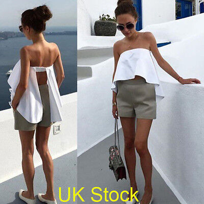Women Ladies Off Shoulder Strapless Casual Tops Blouse Backless T Shirt Crop Top