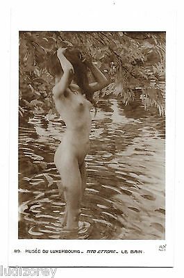 Cpa A63 Illustration Art Nu Le Bain Tito Ettore Pin-Up Nue Musee Luxembourg Nude