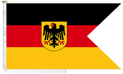 German Navy (Deutsche Marine) Ensign Roped & Toggled 5' x 3' Courtesy Boat Flag