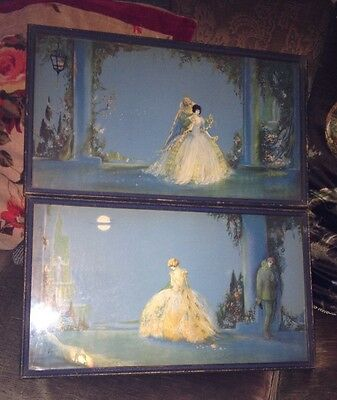 MARY GOLD TSANYA ART DECO 1920's ORIGINAL FRAMED PRINTS PICTURES X 2 PAIR