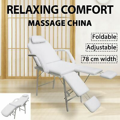 vidaXL Portable Facial Treatment Chair Faux Leather White Bed Multi Models