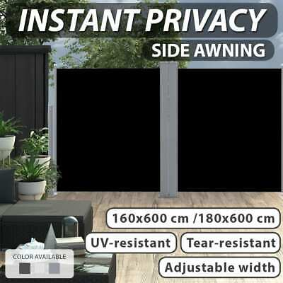 1.6/1.8x6m Retractable Side Awning Privacy Screen Shade Garden Multi Colours