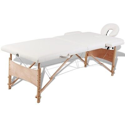 Wooden Portable Massage Table 2 Fold Beauty Therapy Bed Waxing 68cm Cream White