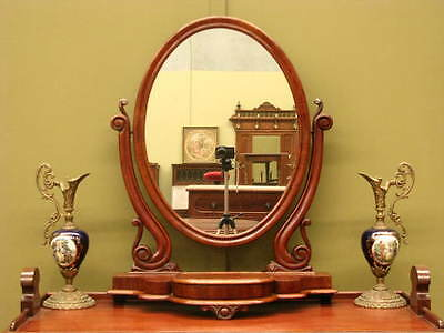 ANTIQUE ENGLISH CARVED MAHOGANY TILTING TOILET MIRROR ~ JEWELLERY DRAWER  c1880s