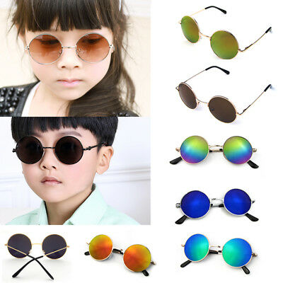 Children Sunglasses Kids Boys Girls Designer Metal Round Retro Mirror Glasses