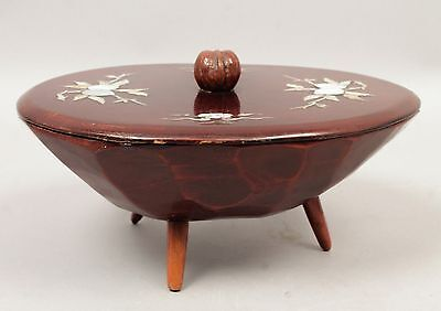 Antique Early 20c Asian Wood Covered Footed Figural Walnut Finial MOP Inlay Bowl