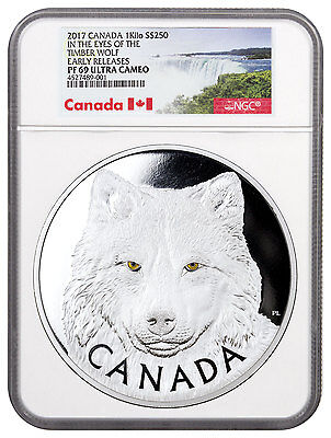 2017 Canada Eyes of Timber Wolf 1 Kilo Silver Proof $250 NGC PF69 UC ER SKU46101