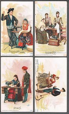 Lot of 4 Original 1900's Singer Sewing Machine Advertising Trade Cards