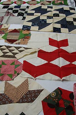 Variety Lot Of 19  Antique Cotton Quilt Blocks