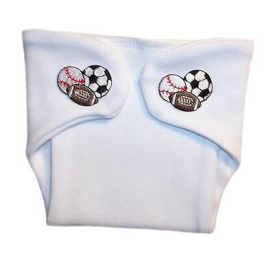 Baby Boy White Diaper Cover Nappy with Sports Balls 4 Preemie and Newborn Sizes!