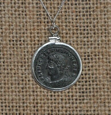 Constantine The Great House Crispus Authentic Roman Coin 925 Silver Necklace