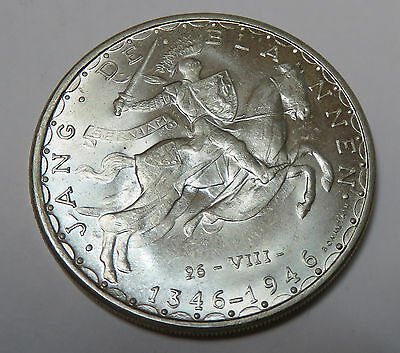 Luxemburg Luxembourg 100 Francs 1946 John The Blind Crecy Km# 49 Silber Unc.