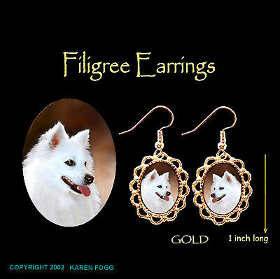 AMERICAN ESKIMO DOG -  GOLD FILIGREE EARRINGS Jewelry