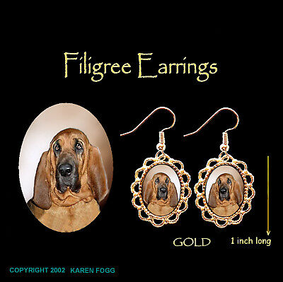 BLOODHOUND DOG - GOLD FILIGREE EARRINGS Jewelry
