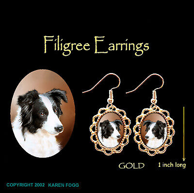 BORDER COLLIE DOG Black and White - GOLD FILIGREE EARRINGS Jewelry