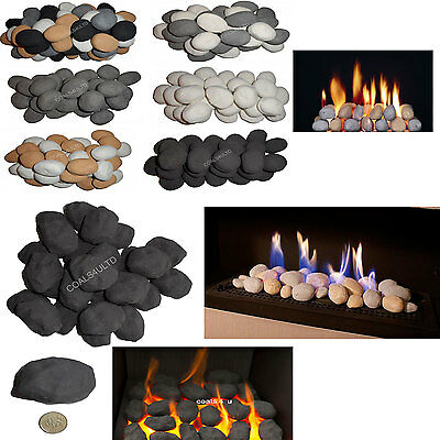 Replacement Ceramic Gas & Electric fire display pebbles coals stones Cast Coals