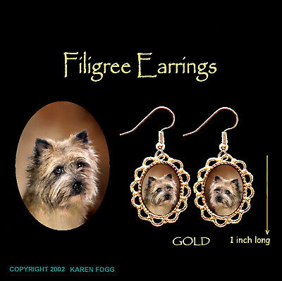 CAIRN TERRIER DOG - GOLD FILIGREE EARRINGS Jewelry