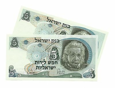 1968 Israel 5 Lirot Albert Einstein Black Serial / 2 Consecutive Notes / UNC